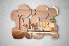 Free Modern Mirror In The Shape Of Pebbles Hanging On The Wall Reflecting Interior Design Scene, Classic Pastel Colored Living Room Royalty Free Stock Images - 172794699