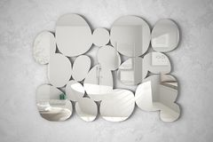 Modern mirror in the shape of pebbles hanging on the wall reflecting interior design scene, bright bathroom with bathtub, minimali. St white architecture stock photography