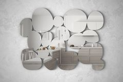 Modern mirror in the shape of pebbles hanging on the wall reflecting interior design scene, bright wooden kitchen with island, min. Imalist white architecture stock illustration