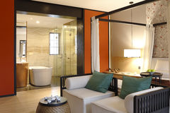 Modern mix building a style of bedroom and toilet Royalty Free Stock Images