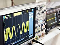 Modern mixed signal oscilloscope. In lab royalty free stock image