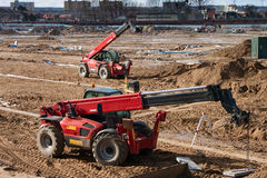 Modern mobile crane. On the construction site Royalty Free Stock Image