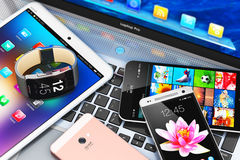 Modern mobile devices Stock Photography