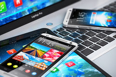 Modern mobile devices Stock Image