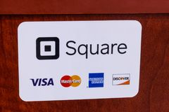 Indianapolis - Circa May 2018: Mobile pay and credit methods including Square, Visa, Master Card, American Express and Discover IV. Modern mobile pay and credit royalty free stock photography