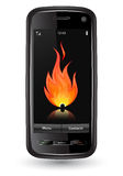Modern mobile phone with flame on screen Royalty Free Stock Photo