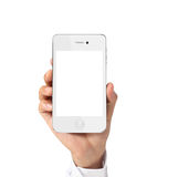 Modern mobile phone in  hand Stock Images