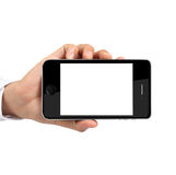 Modern mobile phone in hand Stock Photos