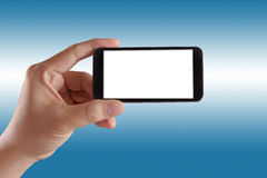 Modern mobile phone hand isolated Stock Photo