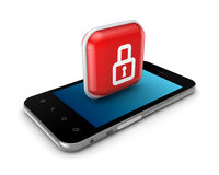 Modern mobile phone with icon of lock. Royalty Free Stock Image