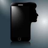 Modern mobile phone with the silhouette of a human head. thinkin. G phone Stock Illustration