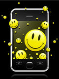 Modern mobile phone with smiley faces. Modern mobile phone with yellow smiley faces coming out of the display stock illustration