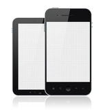Modern Mobile Phones With Blank Screen Isolated. Two mobile smartphones with blank screen isolated on white. Include clipping path for phones and screens Royalty Free Stock Photography