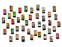 Modern mobile phones with different images Stock Photos