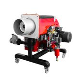 Modern mobile red hi-tech gas boiler gas-burner industrial coppers isolated on white background royalty free stock images