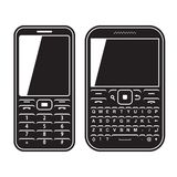 Modern mobile set phone with QWERTY keyboard. Black and white vector illustration Royalty Free Stock Photography