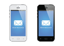 Modern mobile smart phone with new message display isolated Stock Images