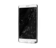 Modern mobile smartphone with broken screen isolated Royalty Free Stock Photo