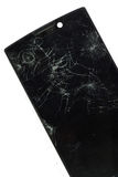 Modern mobile smartphone with broken screen isolated on white ba. Accident,bad,black,broken,cell,cellphone,communication  ,communicator  ,concept Stock Photo