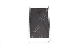 Modern mobile smartphone with broken screen isolated Stock Photos