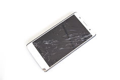 Modern mobile smartphone with broken screen isolated Stock Image