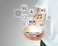 Modern mobiltelefon för kommunikationsteknologi Fotografering för Bildbyråer
