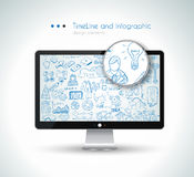 Modern Mockup Device with infographics sketch set Stock Photos