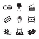 Modern moderiktig kontur för bio- och filmsymbolsuppsättning royaltyfri illustrationer