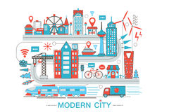 Modern Modern smart city graphic flat line design style infographics concept of global Network technology with icons royalty free illustration