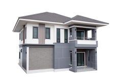 Modern modern stil för hus som isoleras på vit royaltyfria bilder