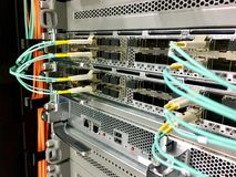 Modern modular and fixed port network switches designed for the data center. Stock Photos