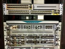 Modern modular and fixed port network switches designed for the data center. Royalty Free Stock Image