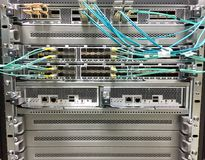 Modern modular and fixed port network switches designed for the data center. Royalty Free Stock Photo
