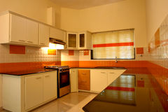 Modern modular kitchen. Furnished modular kitchen with interior Stock Photo