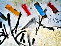 Modern Mondrian. Landscape photo of a graffiti covered wall royalty free stock photo