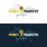 Modern money transfer poster and logo pointer. Stock Photo