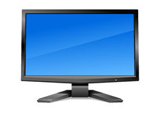 Modern monitor with blue screen. Modern led-monitor with clear blue screen isolated on white. Vector illustration can be scale to any size and easy to edit Stock Photo