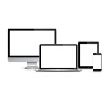 Modern monitor, computer, laptop, phone, tablet on a white background. Set of modern monitor, computer, laptop, phone, tablet on a white background with Royalty Free Stock Image