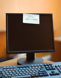Modern monitor with dismissal notification Stock Photo
