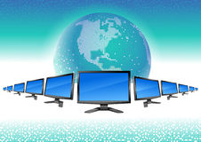 Modern monitors line and globe Royalty Free Stock Photo