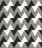 Modern monochrome geometric texture with horizontal zigzag lines and striped background. Stock Photo