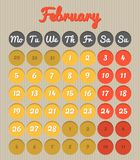 Month planning calendar - February 2018. Modern month planning calendar in English for February 2018 all year avalaible in portfolio Stock Illustration