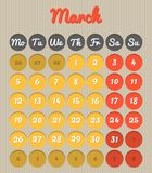 Month planning calendar - March 2018. Modern month planning calendar in English for March 2018Month planning calendar - April 2016 all year avalaible in Vector Illustration