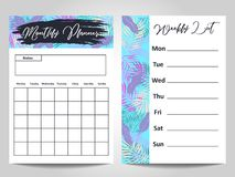 Modern Monthly planner and Weekly list template design. Vector illustration Royalty Free Stock Images