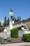 Leonidas statue in Thermopylae, Greece. A modern monument at the Thermopylae site, called the `Leonidas Monument`, in honour of the Spartan king. The Battle of stock photos