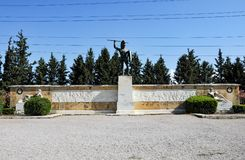 Leonidas statue in Thermopylae, Greece. A modern monument at the Thermopylae site, called the `Leonidas Monument`, in honour of the Spartan king. The Battle of stock photography