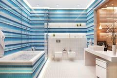Modern mosaic beautiful bathroom design. Modern blue and white mosaic beautiful bathroom design royalty free stock photography