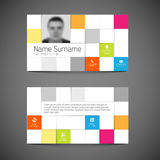Modern mosaic business card template with flat user interface Royalty Free Stock Images