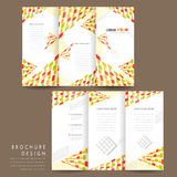 Modern mosaic style tri fold brochure template Stock Photography