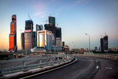 Modern Moscow City skyscrapers and a hightway Stock Photos